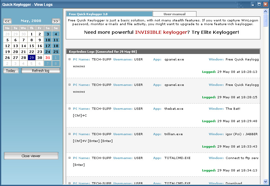 Click to view Quick Free Keylogger screenshots
